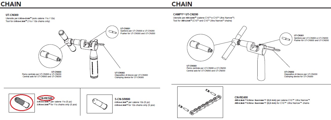 Campagnolo ( カンパニョーロ ) リペアパーツ CN-RE500 ULTRA-LINK FOR 11S CHAINS 1PC