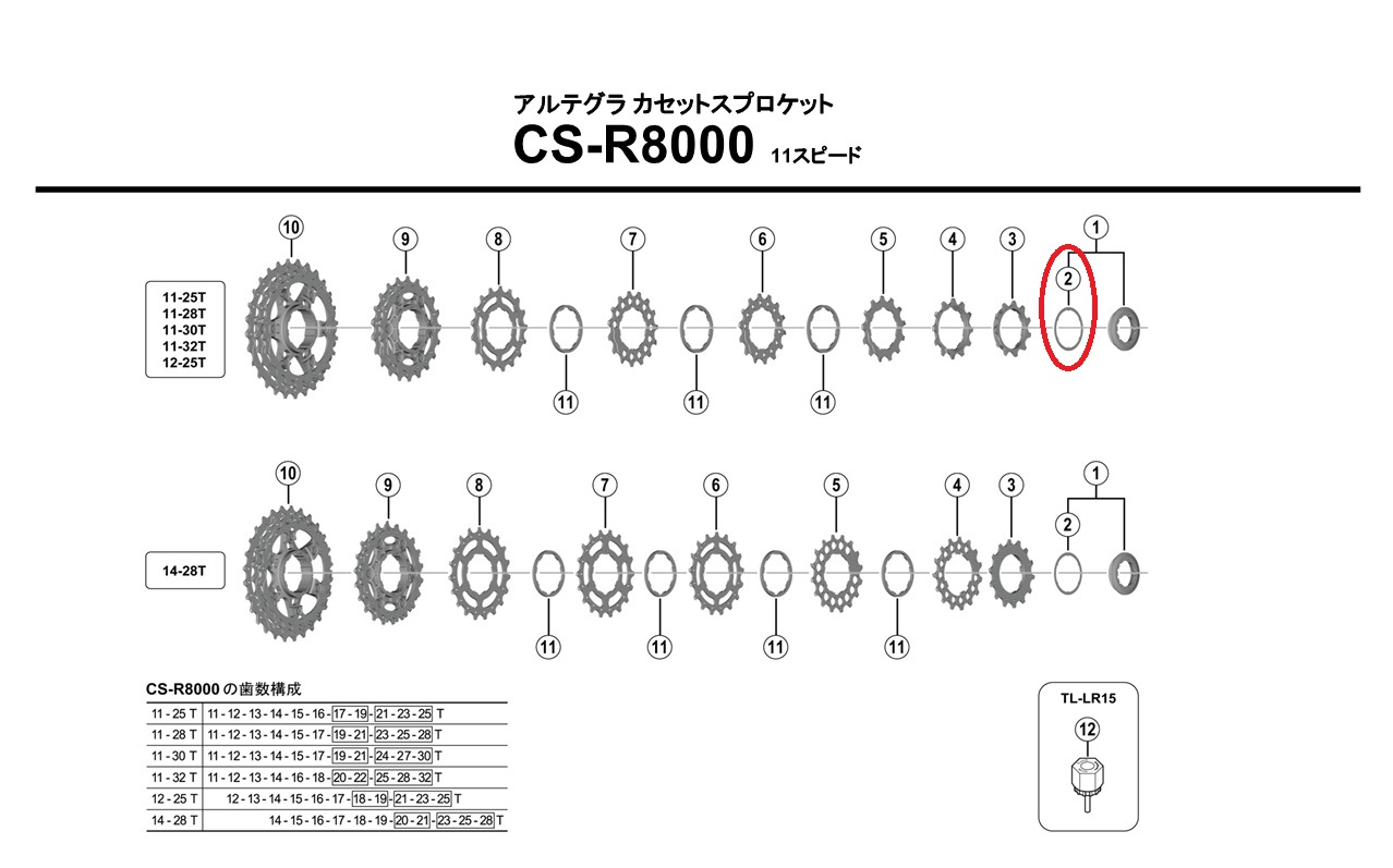 シマノ リペアパーツ CS-R8000 ロックリングスペーサー