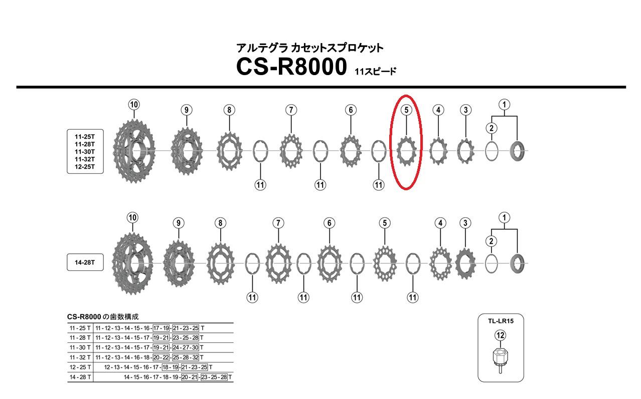 シマノ リペアパーツ CS-R8000 14TギアA ( 12-25T用 )