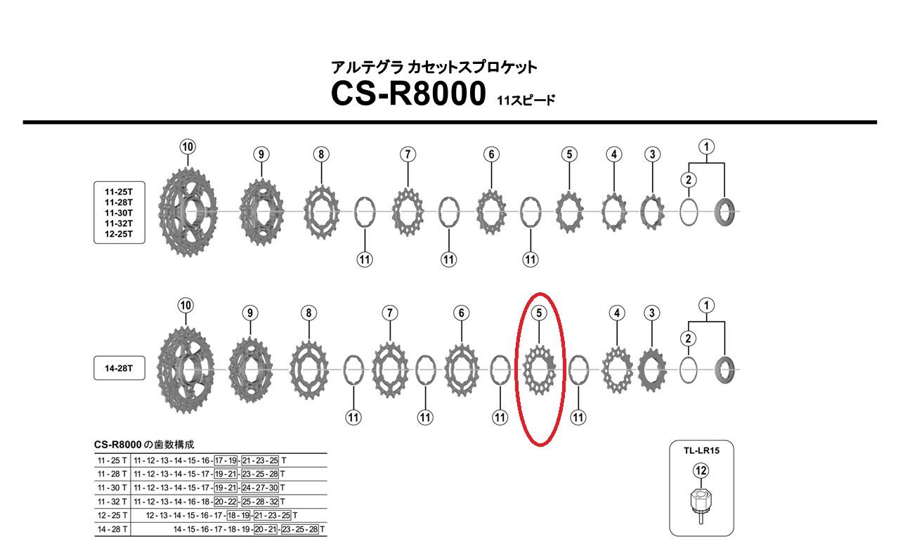 シマノ リペアパーツ CS-R8000 16TギアA ( 14-28T用 )
