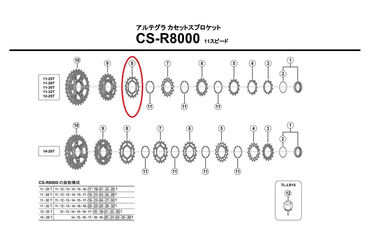 シマノ リペアパーツ CS-R8000 17TギアB ( 11-28T、11-30T用 )