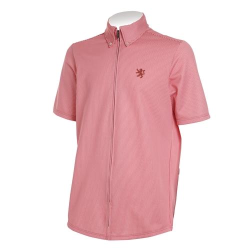 KAPELMUUR(カペルミュール) 半袖ニットシャツ ジャージ ストライプ ピンク M