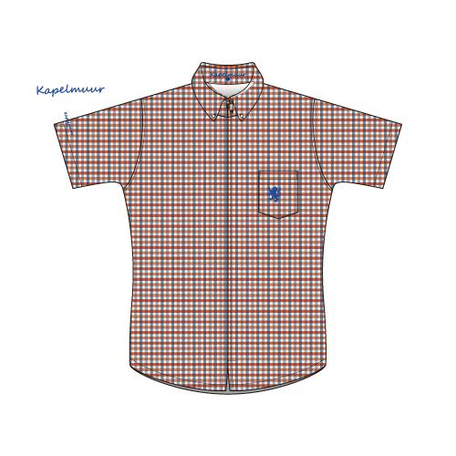 KAPELMUUR ( カペルミュール ) 半袖ジャージ ギンガムチェックシャツジャージ Y'S ROAD 限定 レッド/ブルー
