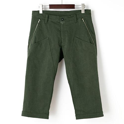 KAPELMUUR ( カペルミュール ) 裾ベルト付クロップドパンツ 膝上ポケット オリーブ M
